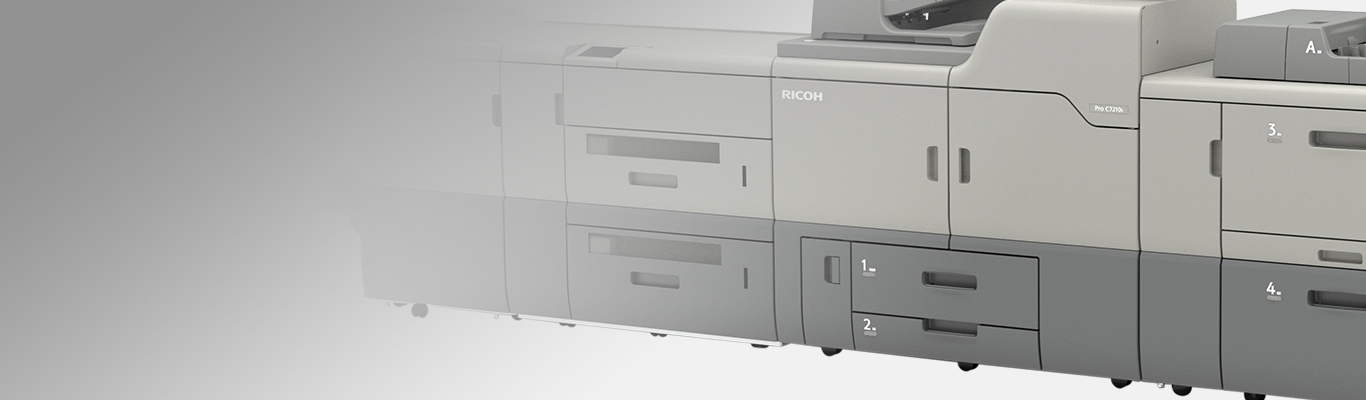 ricoh pro 7210s printer onlight gray background