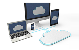photo of multiple devices with cloud on the screen