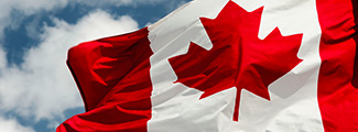 Closeup photo of the Canadian flag.