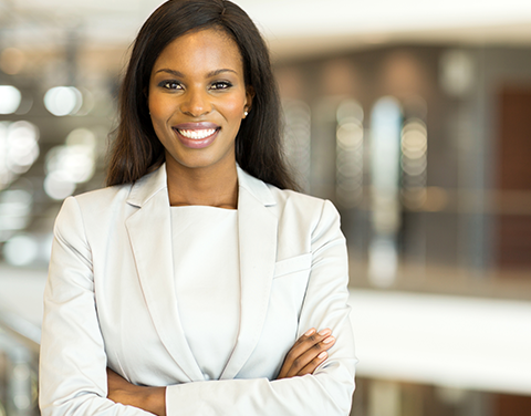 Photo of a business woman smiling.