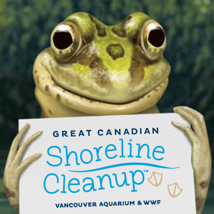 Photo of a frog holding a sign for Great Canadian Shoreline Cleanup.