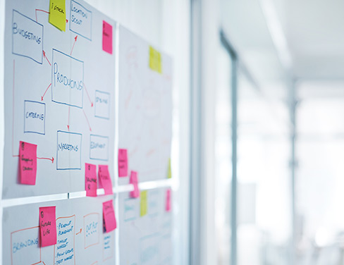 Photo of sticky notes on white board.