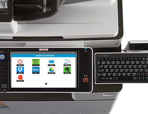 Close up of printer touch screen