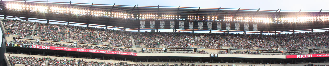 Photo of a stadium with lights and Ricoh displayed on the banner