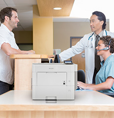 Doctor's office with SP 5301DN printer on tabletop
